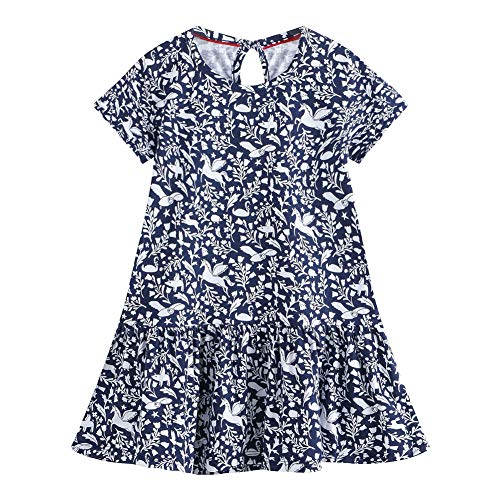 (Little Girl Floral Spring Summer Casual Cotton Applique Tunic Dress Shirts)