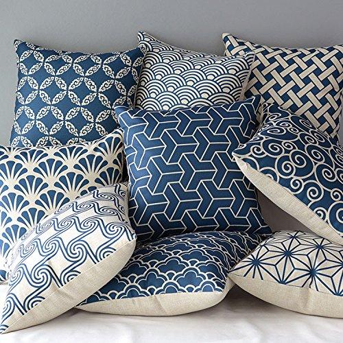 "Chic Blue Beige Cotton Linen Plaid Curtains For Boys Bedroom: 17"" Blue And Beige Vintage Style Cotton"