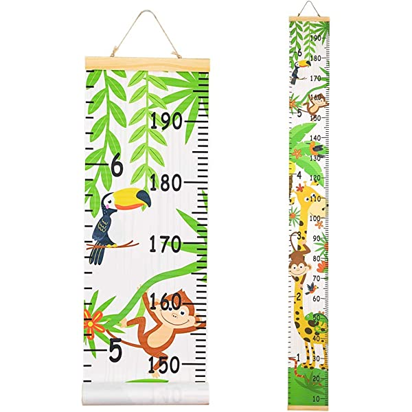 Wopeite 3D Height Ruler Growth Chart Removable Measurement Portable Writable Little Fox Wall Stickers EVA Header Decals Children/'s Room