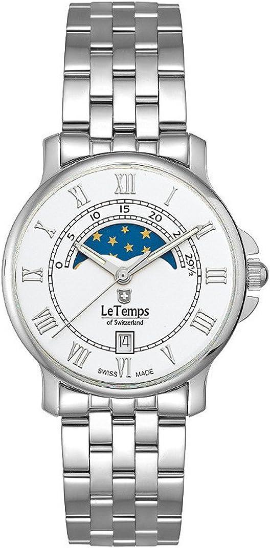 Le Temps of Switzerland Reloj de mujer con fase lunar de 35 mm de diámetro.