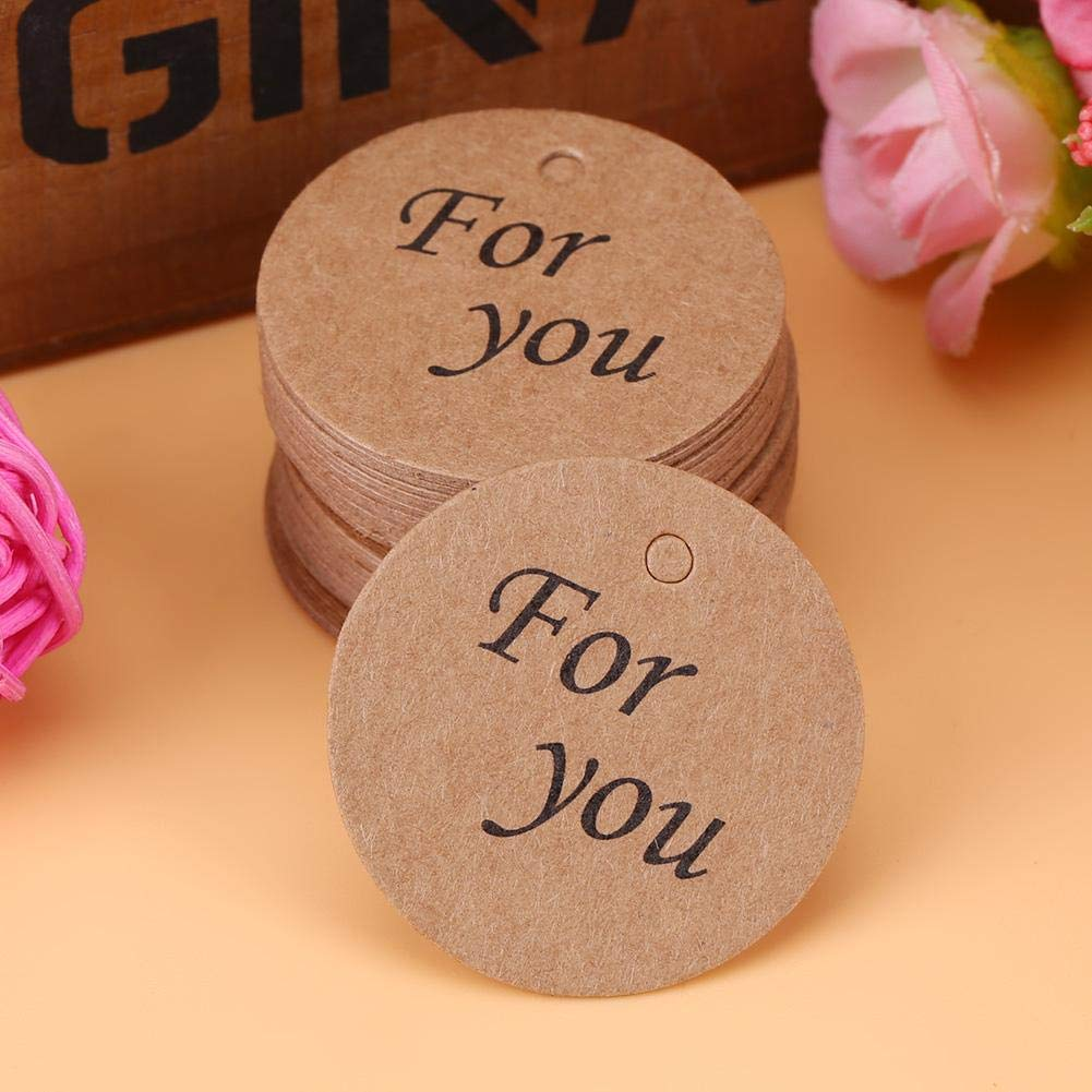 #1 1.38Etichette regalo rotonde per etichette Bomboniere//Etichette Hang Product//Tag prezzo gioielli abbigliamento 100 Pz Etichette in carta
