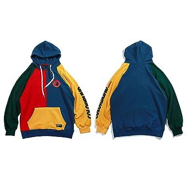 MERRYDAY Men Hip Hop Color Block Patchwork Harajuku Hoodie Streetwear Casual Baggy Pullover Oversized Hoodies