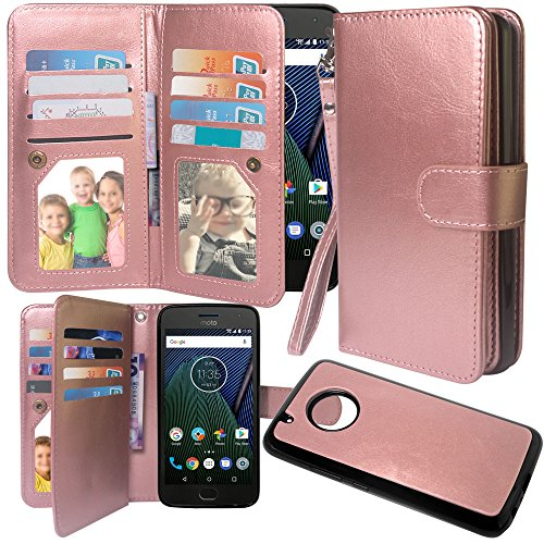 arryshell Luxury 12 Card Slots Shockproof PU Leather Wallet Flip Protective Case with Wrist Strap & Removable Magnetic Back Cover for Moto G Plus 5th Generation (Rose Gold) ()