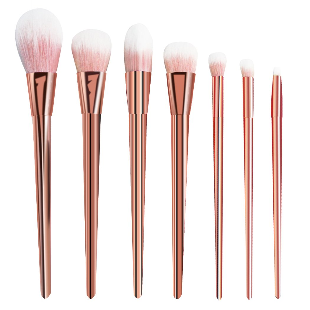 CINEEN Professional 7pcs/set Makeup Cosmetic Brushes Set Powder Foundation Eyeshadow Lip Brush Tool (Rose Gold)