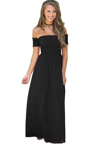 983989538 Haroty Mujer Verano Nuevo Vestidos Moda Sexy Un Hombro Vestido Largo Casual  Sencillos Bonitos Elegante Vestidos