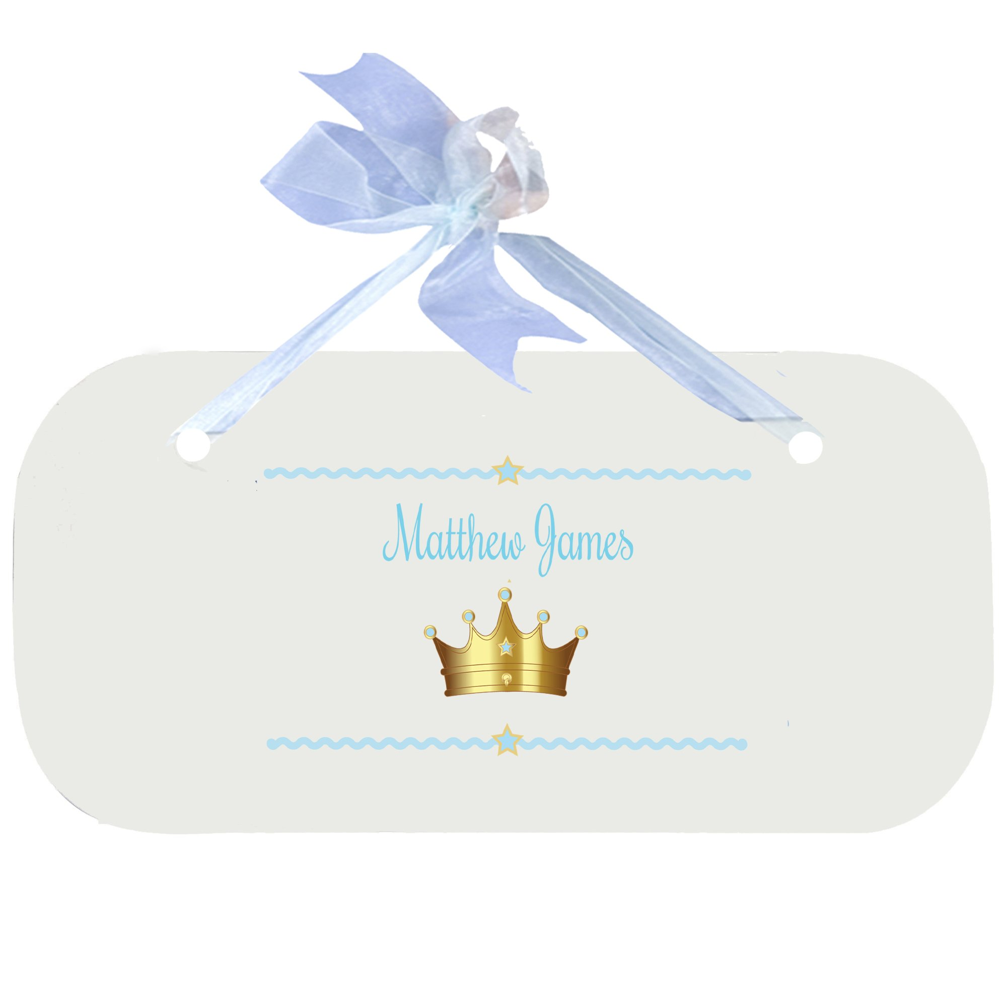 Personalized Prince Crown Blue Nursery Door Hanger Plaque with Blue Ribbon