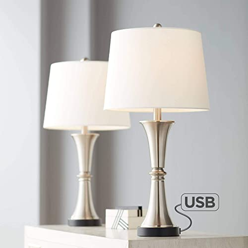 Seymore Modern Table Lamps Set of 2 with USB Port LED Touch On Off Silver White Drum Shade for Living Room Bedroom Family – 360 Lighting