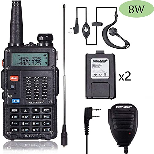 TIDRADIO TD-F9GP 8Watt Ham Radio Handheld Upgraded Version of Baofeng UV-5R Radio Uhf Vhf Radio 2 Way Radio High Power Dual Band Walkie Talkies