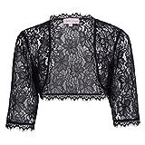 JS Fashion Vintage Dress Womens 3/4 Sleeve Lace Bolero Shrug Plus Size(3XL, Black)