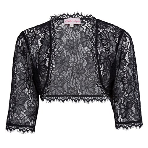 - Womens 3/4 Sleeve Lace Bolero Shrug Plus Size(3XL, Black)