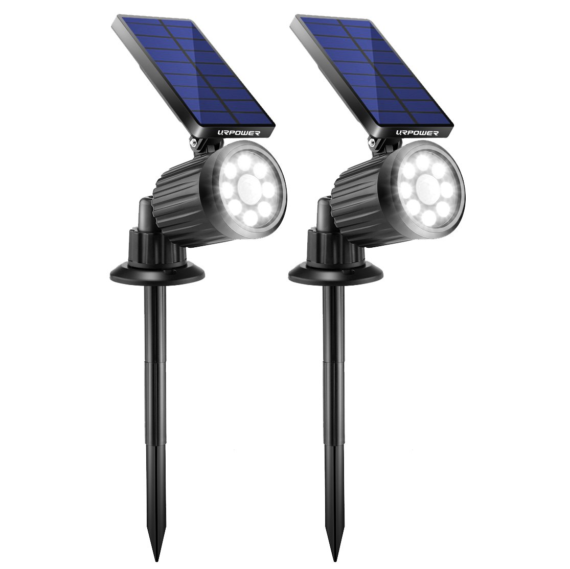 URPOWER Solar Lights Outdoor, 4th Generation Solar Spotlight 2-in-1 Waterproof Motion Sensor Energy-saving Solar Light Solar Landscape lights Outdoor Security Wall Light for Garden, 2Pack (Cool White) by URPOWER