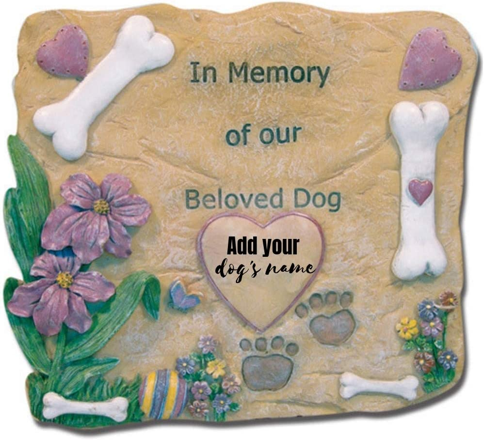 BANBERRY DESIGNS Pet Memorial Garden Stone - in Memory of Our Beloved Dog - Dog Memorial Stone - Pet Remembrance Gifts