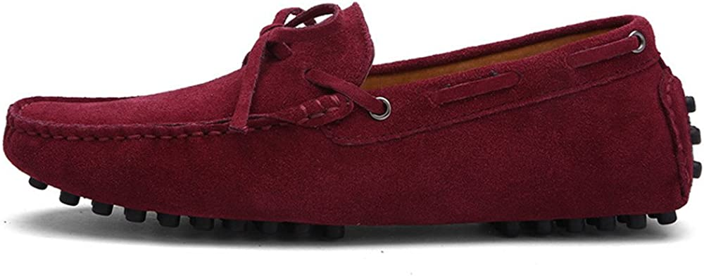 Color : Wine, Size : 11 MUS Z.L.F Mens Oxford Shoes Driving Penny Loafers Genuine Leather Boat Moccasins Rubber Studs Sole Shoes