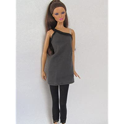 Tiny Wonderment Doll Clothes Dress: Grey Little Dress with Leggings Fit 11.5 Inch Barbie Dolls: Toys & Games
