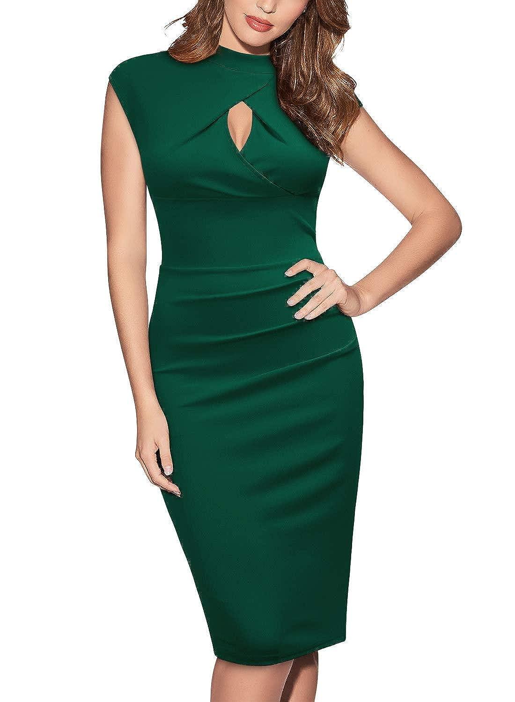 Miusol Damen Elegant Business Cocktailkleid Party Kleid Knielanges Etuikleid Ärmellos Rockabilly Abendkleider