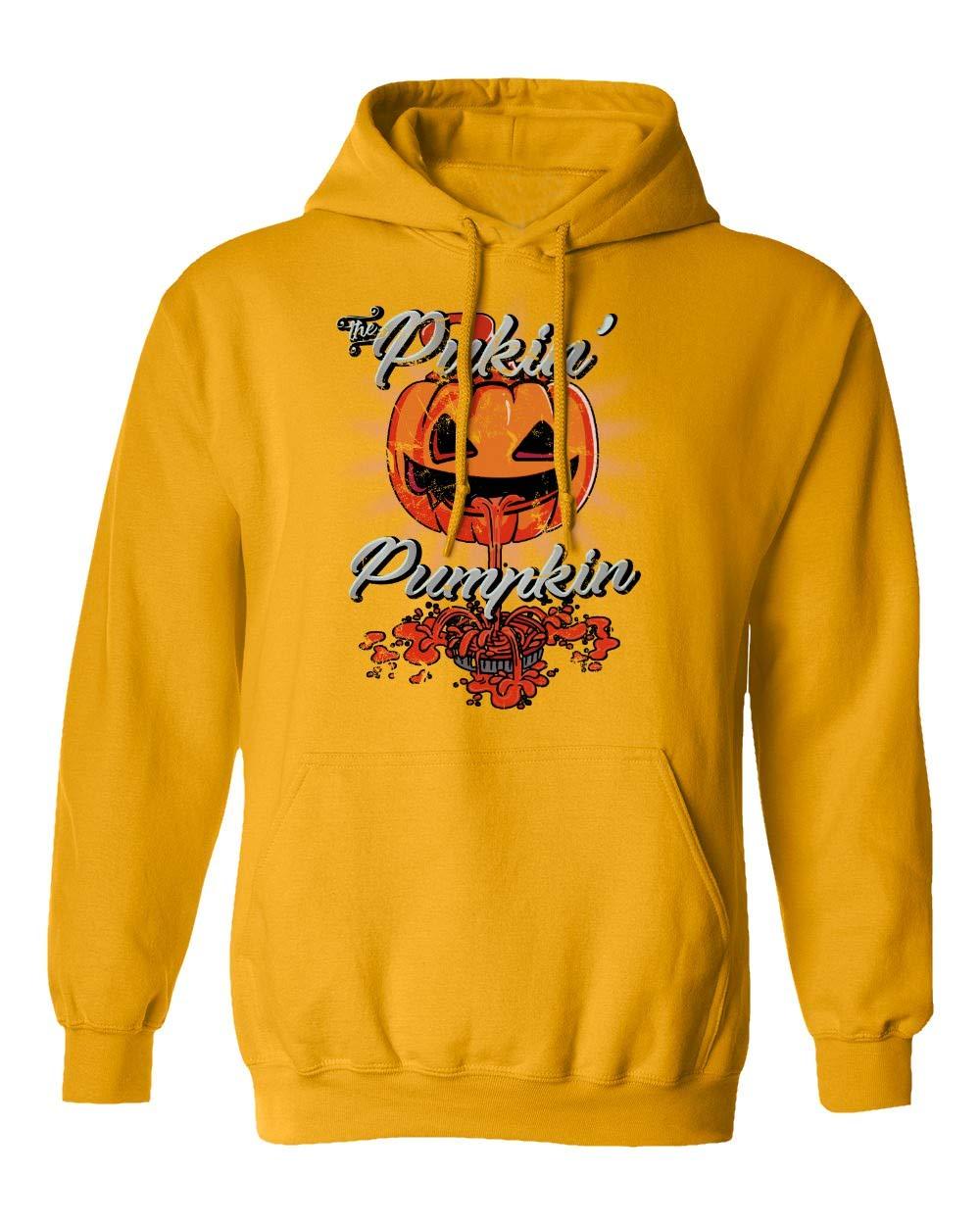 New Novelty Shirt Puking Pumpkin Halloween Pie Fall S Hooded