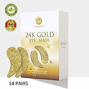 Eye Patches, HOPEMATE Under Eye Mask, 24K Gold Eye Treatment Mask, Dark Circles Gel Pads, Under Eye Bags Treatment, Eye Mask for Puffy Eyes, Anti-Wrinkle Undereye Dark Circles with Eye Cream, 14 Pairs