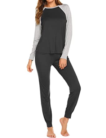 98300c78e Ekouaer Pajama Set Women s Soft Sleepwear Casual Loungewear Set Long Sleeve  Pjs with Long Pants