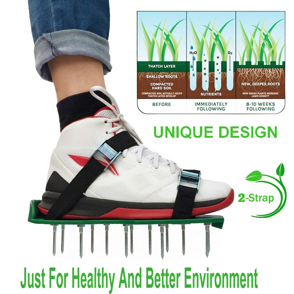 2 Straps Lawn Aerator Shoes Sandals Soil Loosening Metal Buckles Heavy Duty Spiked Garden Grass Spikes Tool for Aerating Your Lawn or Yard