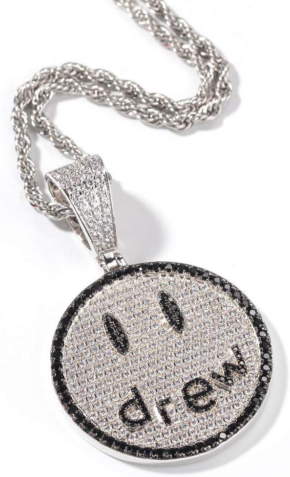 LRKZ Collar de Hip Hop Callejero,Hombres Iced out Crystal Chapado en Oro Diamante Simulado Dibujó Smiley Face Emoji Colgante Collar Hecho A Mano