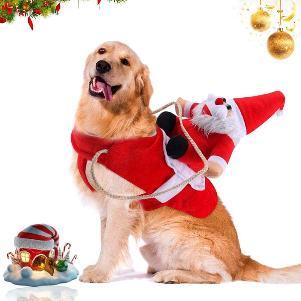 WELLXUNK® Traje de Perro Santa, Disfraz De Navidad para Mascotas, Traje de Perro Santa, Ropa para Perros Cosplay Ajustables Disfraz Gato Adecuado para Navidad,Fiesta,Cumpleaños (M)