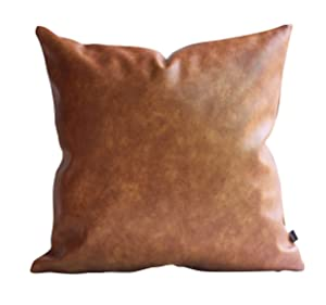 Kdays Thick Brown Faux Leather Throw Pillow Cover Cognac Leather Decorative Throw Pillow Case Farmhouse Decor Sofa Couch Cushion Covers Modern Minimalist Waterproof Pillow Cover 16x16 Inches