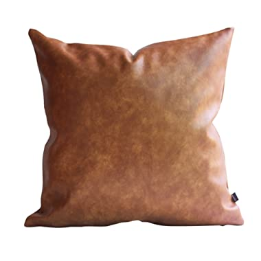 Kdays Thick Brown Faux Leather Throw Pillow Cover Cognac Leather Decorative Throw Pillow Case Farmhouse Decor Sofa Couch Cushion Covers Modern Minimalist Vegan Pillow Cover 18x18 Inches