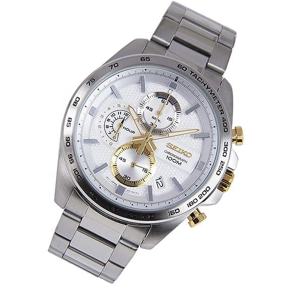 Seiko Reloj Cronógrafo para Hombre de Cuarzo con Correa en Acero Inoxidable SSB285P1: Amazon.es: Relojes