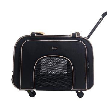 Cutepet Transportín Carrito Multiusos Mochila De Viaje Nylon para Perros Gatos Y Otros Animales Pequeños 2 En 1 Mochila Carrito 58 * 38 * 32 Cm,Black: ...