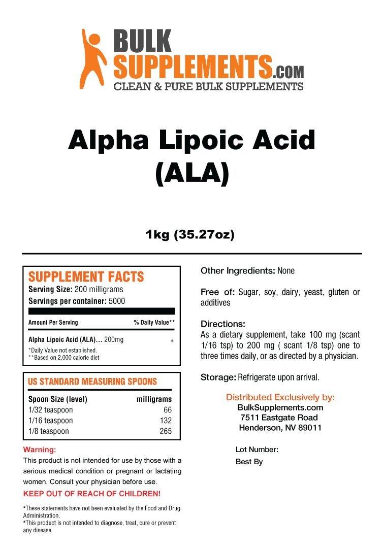 Bulksupplements ALA (Alpha Lipoic Acid) Powder (1 Kilogram)