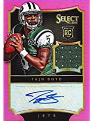 TAJH BOYD 2014 Panini Select Football ROOKIE JERSEY AUTOGRAPH (New York Jets) Pink Prizm Signed NFL Collectible Trading Card #30/35