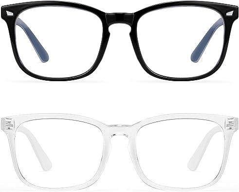 Blue Light Blocking Glasses Women Men-FEIDU 2pack Computer Fake Glasses HD Clear Lens Glasses…