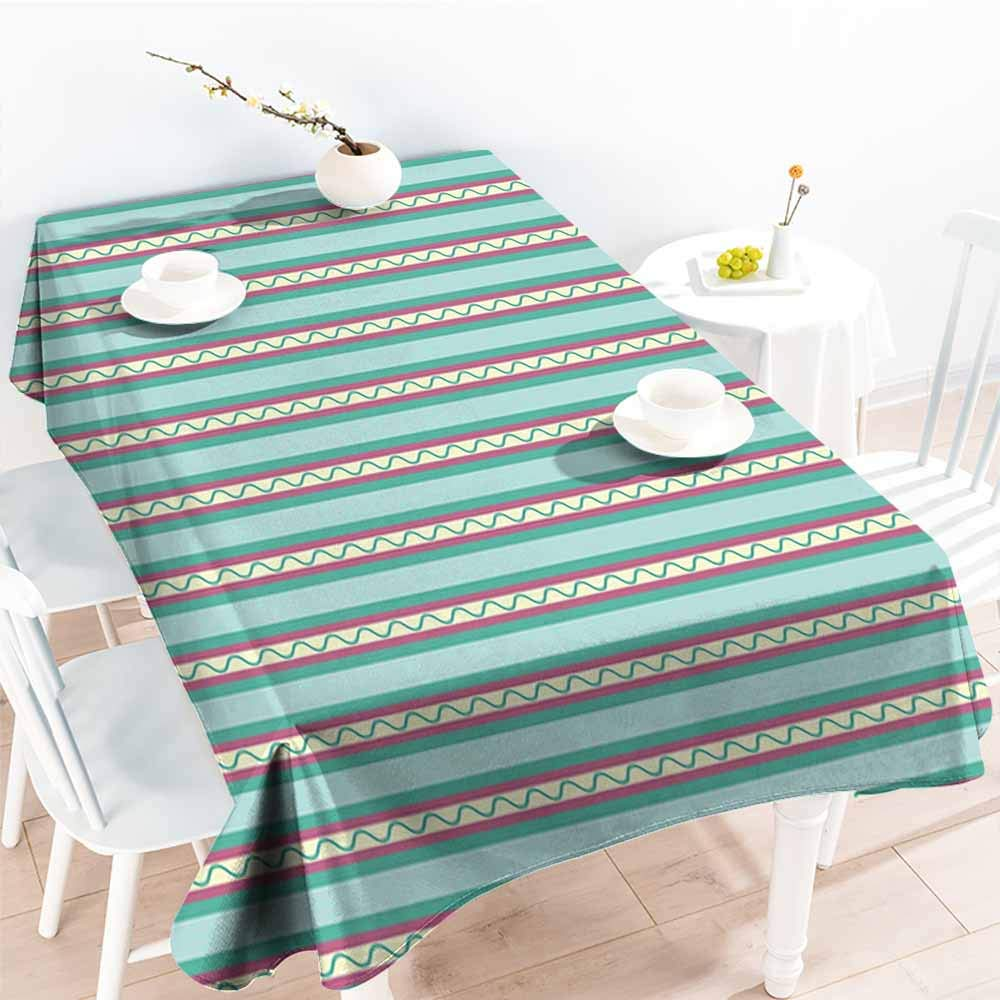 Onefzc Waterproof Table Cover,Geometric Vertical Lines Straight Stripes with Curled Shapes Vivid Pattern Abstract Design,Fashions Rectangular,W52x70L Multicolor