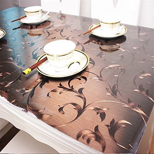 OstepDecor Custom Plastic Tablecloth Vinyl Cover Table Furniture Protector Kitchen Dining Top Waterproof Side Table End Desk Pads | Brown 48 x 48 Inches (Top Bench Plastic)