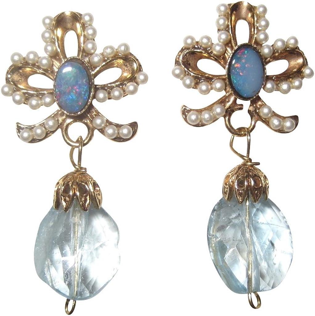 Pendientes de perlas pequeñas de agua dulce azul claro, azul claro, plata chapada en oro, hecho a mano, diseño retro vintage
