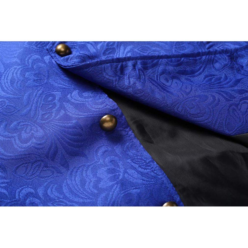 JIXUAN Chaleco para Hombre Steampunk Era Jacquard Ropa de Tela Medieval Retro Court Vest Chaleco con Cuello en V Corto Disfraces de Halloween