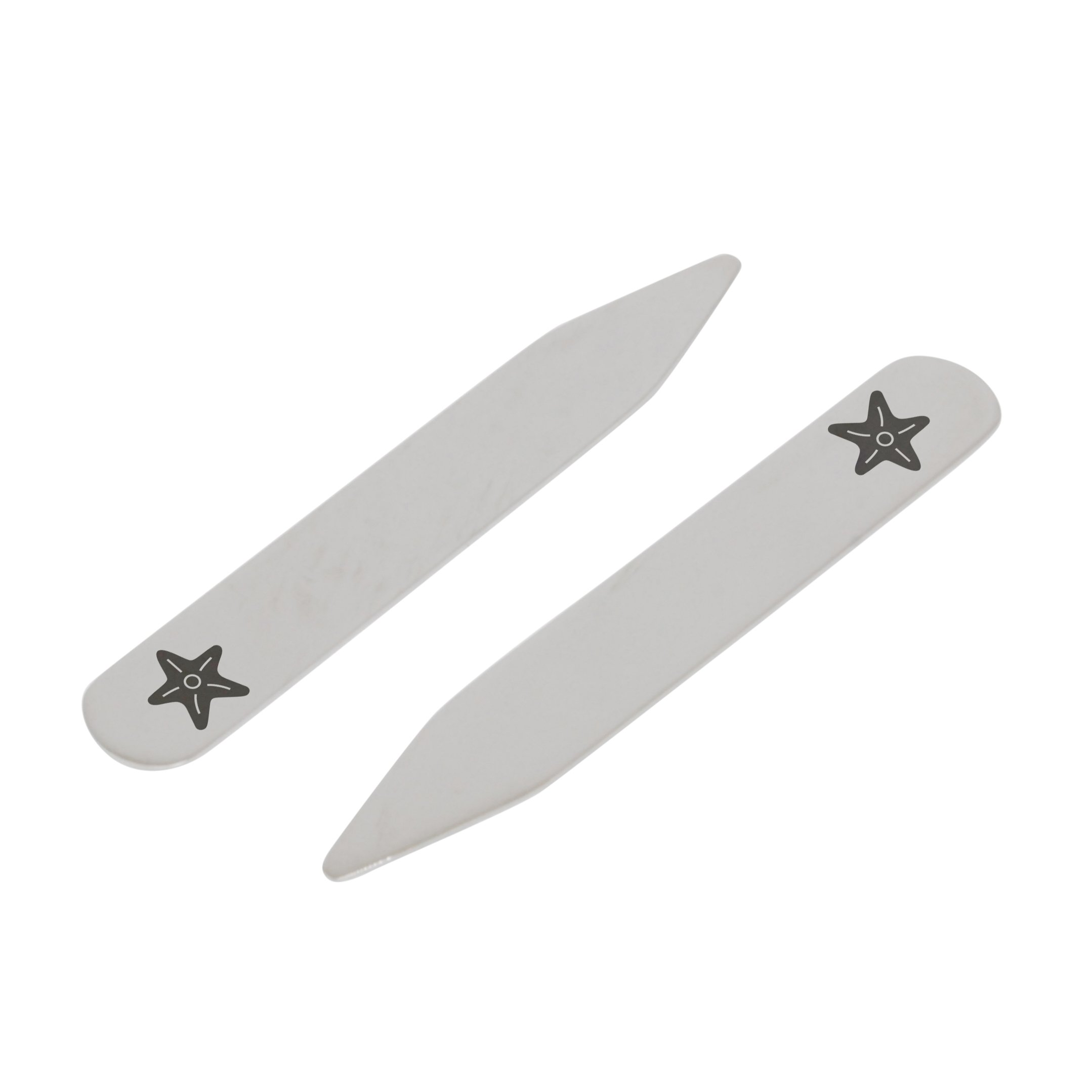 MODERN GOODS SHOP Stainless Steel Collar Stays With Laser Engraved Starfish Design - 2.5 Inch Metal Collar Stiffeners - Made In USA