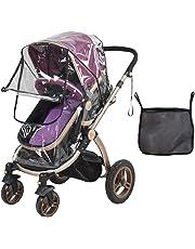 Tomkity Burbuja de Lluvia Protector Cubierta contra Lluvia y Viento Impermeable para Silla de Paseo de Bebé y Carrito con una Bolsa Organizadora de Malla para Guardar Cosas