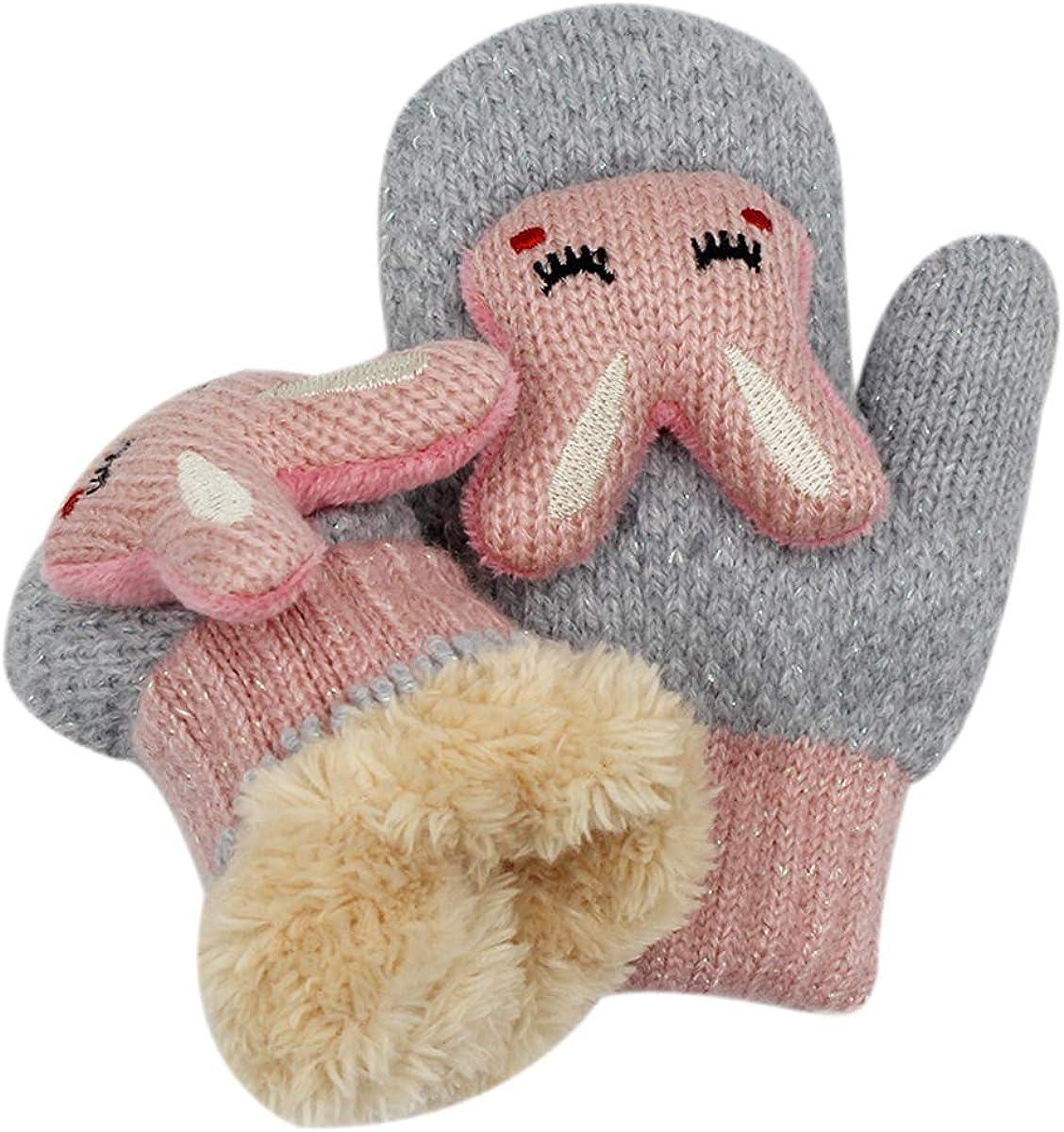 RARITY-US 0-5Y Unisex Knit Cute 3D Cartoon Bunny Gloves Winter Warm Fingerless Half Finger Mittens for Kids Girls Boys