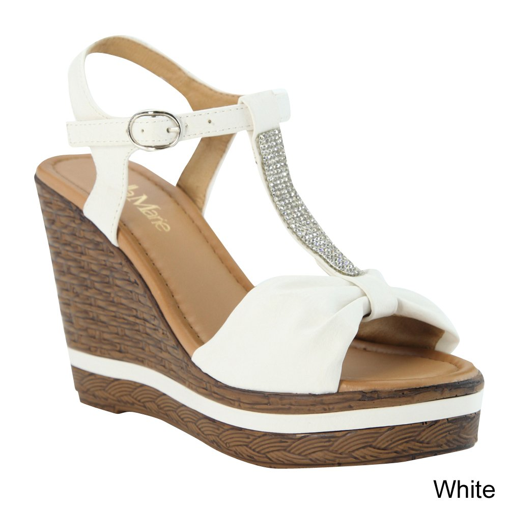 BELLAMARIE NXT-11 Women Ankle Strappy Wood Like Wedge Platform Sandal Size:7.5 Color:WHITE