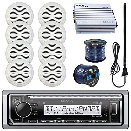 "Kenwood KMRM322BT Marine Boat Radio Stereo Receiver Bundle Combo With 8x Magnadyne WR45W 5"" White Waterproof Speakers"