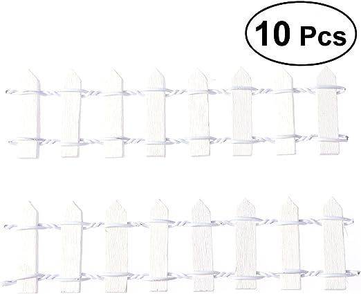 Healifty - 10 piezas en miniatura para valla de jardín, valla de madera, para bonsái, decoración de jardín (blanco): Amazon.es: Jardín
