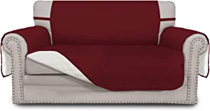 Easy-Going Sofa Slipcover Reversible Loveseat Cover Water Resistant Couch Cover Furniture Protector with Elastic Straps for Pets Kids Children Dog Cat(Loveseat,Christmas Red/Ivory)