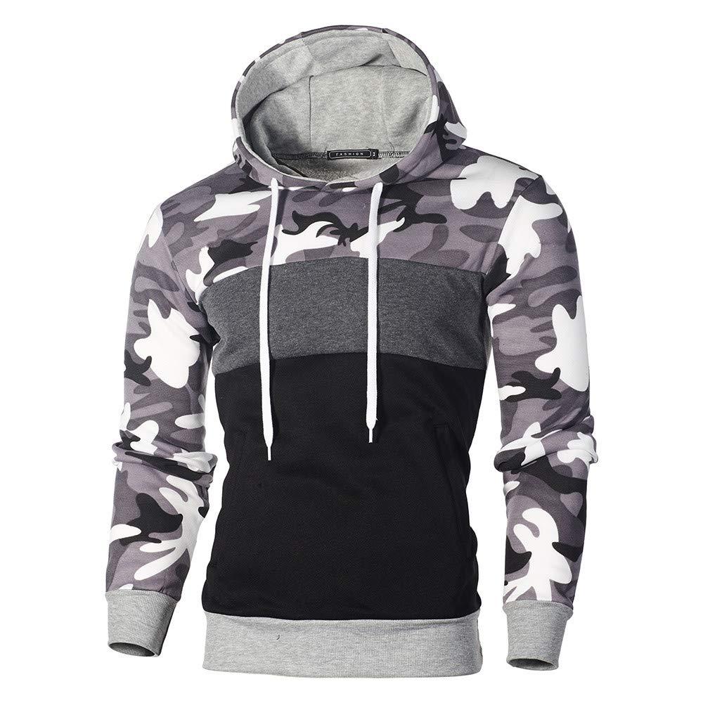 Realdo Mens Camo Hoodie Sweatshirt, Mens Cotton Blend Splice Camouflage Military Combat Hooded Pullover Tops