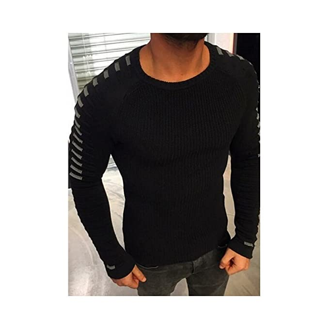 af8928840c Hirate Winter Men s Knitted Sweater Casual Striped Long Sleeve Pullover  Sweater Spring Elastic Patchwork (M