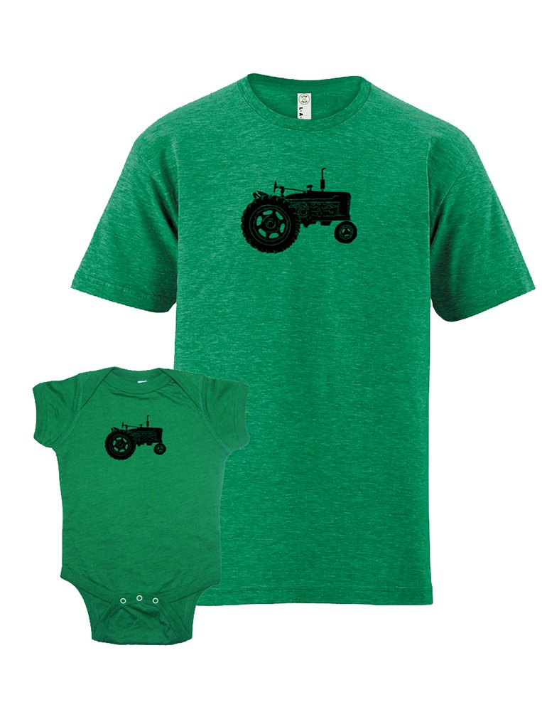 Farm Shirts Matching Dad and Baby Tractor T-Shirt Set L&0-6 Heather Green