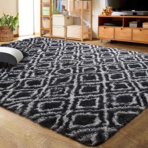 LOCHAS Luxury Velvet Shag Area Rug Plush Fluffy Rugs