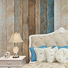 """HaokHome 208 Vintage Wood Wallpaper Rolls Turquoise Blue/Sand/Brown Wooden Plank Murals Home Kitchen Bathroom Decoration 20.8"""" x 393.7"""""""