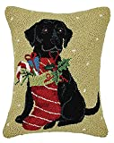 Peking Handicraft 31SJM7612AC18OB Black Lab with Stocking Hook Pillow, Multicolor
