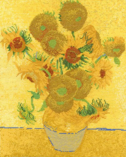 (DMC BL1063/71 14 Count Van Gogh Sunflowers Counted Cross Stitch Kit, 11.5